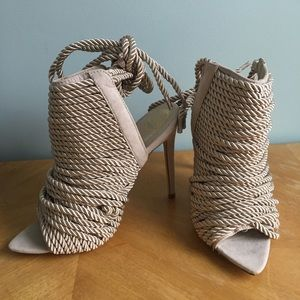 Nude rope detail pumps
